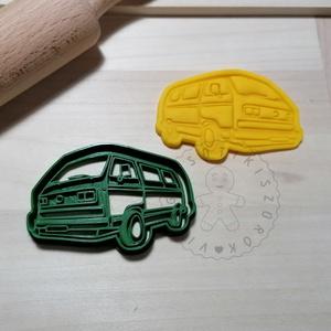 VW T3 kisbusz - süteménykiszúró forma, sütipecsét. Linzer, mézeskalács, keksz kiszúró, Otthon & Lakás, Konyhafelszerelés, Sütikiszúró, Mindenmás, Mézeskalácssütés, VW T3 kisbusz  forma sütemény kiszúró és minta nyomó. \nSaját tervezésű süteménykiszúró forma, mely 3..., Meska