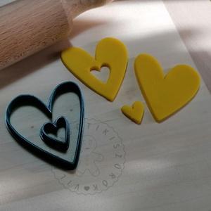 Vékony szív linzer kiszúró pár - süteménykiszúró forma, sütipecsét. Sütikiszúró. Linzer, mézeskalács, keksz kiszúró, Otthon & Lakás, Konyhafelszerelés, Sütikiszúró, Mindenmás, Mézeskalácssütés, Vékony szív linzer kiszúró, belső kis kiszúróval együtt.\nSaját tervezésű süteménykiszúró forma, mely..., Meska
