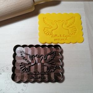 Egyedi esküvői galambos süteménykiszúró forma, sütipecsét. Sütikiszúró. Linzer, mézeskalács, keksz kiszúró, Otthon & Lakás, Konyhafelszerelés, Sütikiszúró, Mindenmás, Mézeskalácssütés, Egyedi esküvői sütikiszúró galambokkal, fekvő téglalap keksz forma sütemény kiszúró. \nSaját tervezés..., Meska
