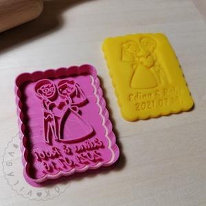 Egyedi, álló, kicsi esküvői süteménykiszúró forma, sütipecsét. Sütikiszúró. Linzer, mézeskalács, keksz kiszúró, Otthon & Lakás, Konyhafelszerelés, Sütikiszúró, Mindenmás, Mézeskalácssütés, Egyedi esküvői sütikiszúró a nevetekkel. Keksz forma sütemény kiszúró. \nSaját tervezésű süteménykisz..., Meska