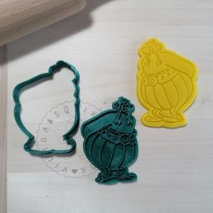 Obelix - süteménykiszúró forma, sütipecsét. Sütikiszúró. Linzer, mézeskalács, keksz kiszúró, Otthon & Lakás, Konyhafelszerelés, Sütikiszúró, Mindenmás, Mézeskalácssütés, Obelix sütemény kiszúró forma és minta nyomó.  \nSaját tervezésű süteménykiszúró forma, mely 3D nyomt..., Meska