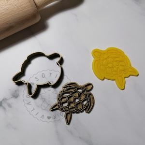 Tengeri teknős - süteménykiszúró forma, sütipecsét. Sütikiszúró. Linzer, mézeskalács, keksz kiszúró, Otthon & Lakás, Konyhafelszerelés, Sütikiszúró, Mindenmás, Tengeri teknős forma sütemény kiszúró és minta nyomó.\nSaját tervezésű süteménykiszúró forma, mely 3D..., Meska