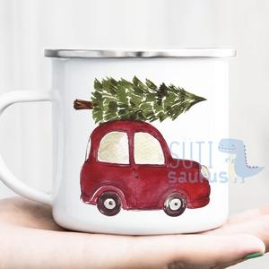 Karácsonyi FÉM bögre (XMAS008) - Karácsonyi piros autó fenyőfával, Otthon & Lakás, Konyhafelszerelés, Bögre & Csésze, Karácsonyi bögre, bádog bögre piros autóval, fenyőfával  A felirat a bögre mindkét oldalára rákerül,..., Meska