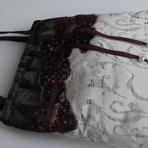 Barna taft-csipke alkalmi táska 1.  BTT-001, Válltáska, Kézitáska & válltáska, Táska & Tok, Varrás, Iparművész darab. Egyedi alkalmi táska. Kézimunka. Ez a táska egy három darabos kollekció első darab..., Meska