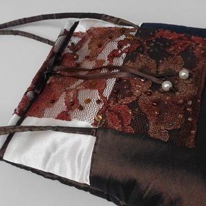 Barna-taft-csipke alkalmi táska  BTT-002, Táska, Divat & Szépség, Ruha, divat, Táska, Válltáska, oldaltáska, Varrás, Iparművészeti termék. Egyedi darab. Ez a táska egy három darabos kollekció második darabja. Kiállítá..., Meska