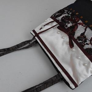 Barna taft-csipke alkalmi táska BTT-003, Táska, Divat & Szépség, Táska, Ruha, divat, Varrás, Iparművészeti  termék. Egyedi darab. Ez a táska egy három darabos kollekció harmadik darabja. Kiállí..., Meska