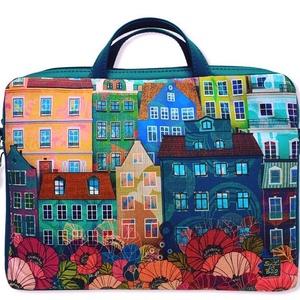 Házikós laptop táska, Táska & Tok, Laptop & Tablettartó, Laptoptáska, Türkiz textilbőrrel kombinált laptop táska . A mérete 40x30 cm, vastagsága 4cm. Ennél kisebb laptop ..., Meska