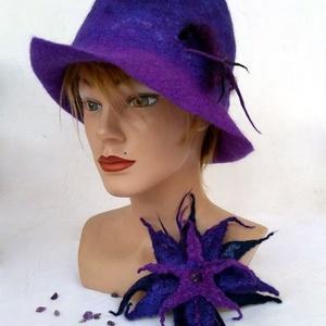 """Nemezelt kalap és bross szett  \"""" Ametiszt \"""", Táska, Divat & Szépség, Sál, sapka, kesztyű, Ruha, divat, Ékszer, Kitűző, bross, Nemezelés, Az ametiszt a haragot és a dühöt a szeretet pozitív energiájává alakítja át. \nA kalap és bross 100% ..., Meska"""