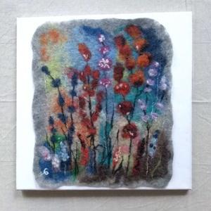 """Nemez kép \"""" Mezei virágok\"""", Művészet, Textil, Nemezelt, Nemezelés, Nemez kép 100% gyapjúból készült vizes nemezeléssel. Méret 40x40 cm vászonnal együtt ., Meska"""