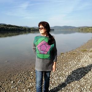 Nemez sweatshirt / pulóver  Rózsa , Ruha & Divat, Női ruha, Nemezelés, Meska
