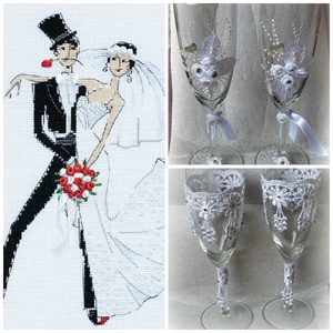 A nagy napra, Esküvő, Esküvői dekoráció, Nászajándék, Otthon & lakás, Konyhafelszerelés, Bögre, csésze, Üvegművészet, Decoupage, transzfer és szalvétatechnika, \nEgyedi, kézzel készített esküvői  pezsgős pohár szett.\n\nRemek ajándék az ifjú párnak.\n\nA poharakat ..., Meska