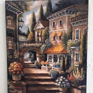 Mediterrán jellegű falikép, Otthon & lakás, Dekoráció, Kép, Lakberendezés, Falikép, Utcatábla, névtábla, Mindenmás, Mediterrán jellegű falikép 20x25 cm MDF lapra kasírozva!Falidísz falikép ami szépen mutat!, Meska