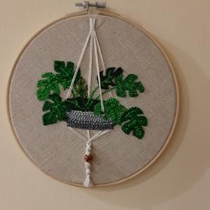 Hímzett karika falidísz 2, Otthon & Lakás, Dekoráció, Falra akasztható dekor, Hímzés, Punch needle eszközzel kézi munkával készült modern és hagyománykedvelő lakásoknak is díszére válik...., Meska