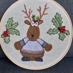 Karácsonyi 2 nagy hímzett ráma, Művészet, Más művészeti ág, Hímzés, Bökdöséssel, szurkálással, gyöngyözéssel, esetenként véráldozattal (ujjacskába szúrás) készült kör a..., Meska