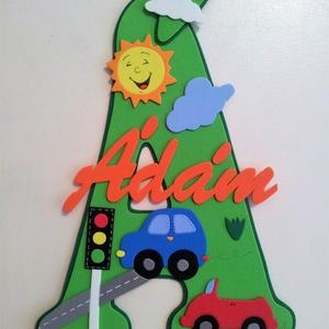 Dekorgumi gyerekszoba dekoráció névtábla járművekkel (sylmiracraft) - Meska.hu