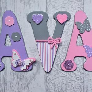 Bababetűk, nagyméretű betű, pillangós pink-szürke-lila, 3 betűs név (1200 Ft/betű), Gyerek & játék, Gyerekszoba, Dekoráció, Otthon & lakás, Baba falikép, Mindenmás, Bababetűk, nagyméretű név, pillangós pink-szürke-lila, 3 betűs név (1200 Ft/betű)\n\nA betűk mérete: 2..., Meska