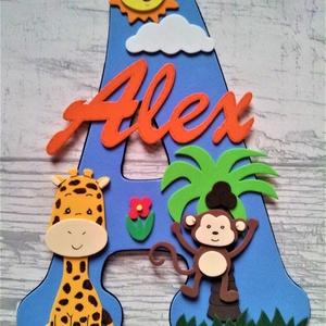 Dekorgumi gyerekszoba dekoráció névtábla állatokkal, Dekoráció, Otthon & lakás, Gyerek & játék, Gyerekszoba, Falmatrica, Mindenmás, Baba-és bábkészítés, Dekorgumi gyerekszoba dekoráció névtábla állatokkal\n\nA nagy betűn (név kezdőbetűje) középen helyezke..., Meska