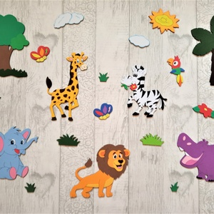 Dekorgumi gyerekszoba dekoráció szafari állatok 1. változat, Gyerek & játék, Gyerekszoba, Dekoráció, Otthon & lakás, Falmatrica, Mindenmás, Dekorgumi gyerekszoba dekoráció szafari állatok 1. változat\n\n\nA szett tartalma: 1 zsiráf, 1 elefánt,..., Meska