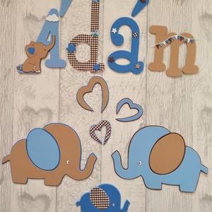 Elefántos gyerekszoba dekoráció 5 betűs névvel, Otthon & Lakás, Dekoráció, Betű & Név, Mindenmás, Dekorgumi gyerekszoba dekoráció Elefántos falidekor 5 betűs névvel\nA szett tartalmaz: 2 db A4 méretű..., Meska