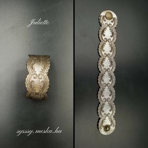Juliette arany színű gravírozott bőr karkötő , Széles karkötő, Karkötő, Ékszer, Bőrművesség, Ékszerkészítés, Arany színű valódi olasz marhabőrből egyedileg tervezett és kivágott gravírozott, egyedi méretre kés..., Meska