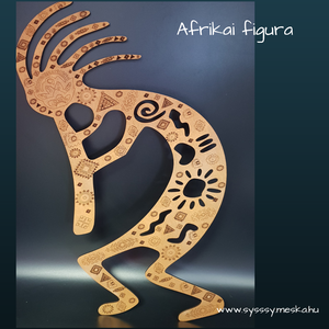 Afrikai figura fali kép, Kép & Falikép, Dekoráció, Otthon & Lakás, Gravírozás, pirográfia, Famegmunkálás, Afrikai figurát ábrázoló fali kép rágravírozott afrikai mintával bronz színre festve. Mérete 250x450..., Meska