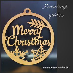 """Merry Christmas!  ajtódísz, Karácsonyi kopogtató, Karácsony & Mikulás, Otthon & Lakás, Famegmunkálás, Festett tárgyak, Karácsonyi ajtódísz \""""merry christmas\"""" felirattal, bronz színre festve. \nNapi inspirációk hatására ál..., Meska"""