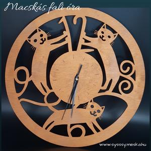Macskás kézzel festett egyedi tervezésű fali óra, Dekoráció, Otthon & lakás, Lakberendezés, Falióra, óra, Dísz, Gravírozás, pirográfia, Famegmunkálás, Macskás fa fali óra bronz színre festve. \nNapi inspirációk hatására általam megrajzolt és kitűnő mín..., Meska