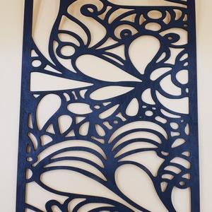 Hullámok kézzel festett nyír fali kép - Meska.hu