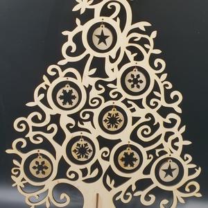 Havas ezüst fából vágott karácsonyfa bronz díszekkel   (Sysssy) - Meska.hu