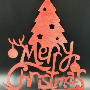 Karácsonyfa ajtó-ablakdísz piros-ezüst színre festve, Karácsonyi kopogtató, Karácsony & Mikulás, Otthon & Lakás, Famegmunkálás, Festett tárgyak, Általam megtervezett és kivágott karácsonyi nyír fa ajtó-ablakdísz piros-ezüst színre festve. Mérete..., Meska
