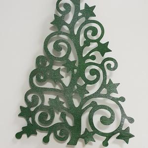 Karácsonyfa ajtó-ablakdísz zöld-ezüst színre festve, Karácsonyi kopogtató, Karácsony & Mikulás, Otthon & Lakás, Famegmunkálás, Festett tárgyak, Általam megtervezett és kivágott karácsonyi nyírfa ajtó-ablakdísz zöld-ezüst színre festve. Mérete 2..., Meska