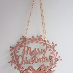 Karácsonyi ajtó-ablakdísz bronz színre festve, Karácsonyi kopogtató, Karácsony & Mikulás, Otthon & Lakás, Famegmunkálás, Festett tárgyak, Általam megtervezett és kivágott karácsonyi nyírfa ajtó-ablakdísz bronz színre festve. Mérete 30x30 ..., Meska