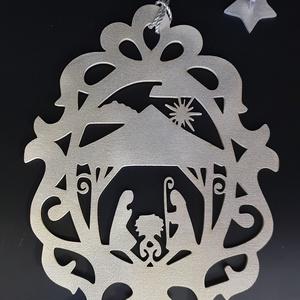 Betlehemes ajtó-ablakdísz fehér-ezüst színre festve, Otthon & Lakás, Ablakdísz, Dekoráció, Famegmunkálás, Festett tárgyak, Meska