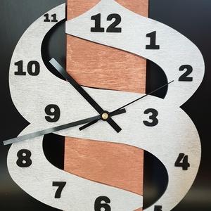 Design fali óra bronz-fém-fekete színekben, Lakberendezés, Otthon & lakás, Falióra, óra, Esküvő, Nászajándék, Gravírozás, pirográfia, Famegmunkálás, Fából kivágott, egyedileg tervezett, bronz-fém-fekete színekre festett design óra. \nNapi inspirációk..., Meska