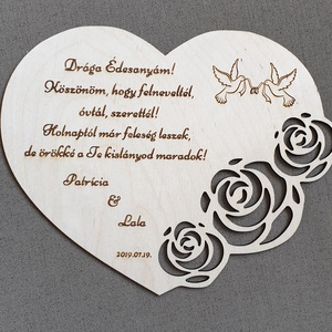 Gravírozott tábla öröm anyáknak esküvőre, Esküvő, Nászajándék, Férfiaknak, Vőlegényes, Gravírozás, pirográfia, Famegmunkálás, Saját tervezésű gravírozott tábla esküvőre öröm anyáknak. \nAnyaga natúr nyír rétegelt lemez. \nNapi i..., Meska