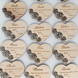 Esküvői gravírozott ültetőkártya esküvőre , Esküvő, Meghívó, ültetőkártya, köszönőajándék, Gravírozás, pirográfia, Famegmunkálás, Névre szóló ültetőkártya esküvőre vendégeknek. Kérésre mágnest is tudok rá ragasztani, hogy később e..., Meska