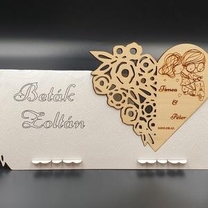 Esküvői köszönő ajándék hűtőmágnes, ültetőkártyával , Fűszertartó, Konyhafelszerelés, Otthon & Lakás, Gravírozás, pirográfia, Famegmunkálás, Esküvői köszönő ajándék hűtőmágnes, ültetőkártyával. Köszönetajándék, emlék esküvőre a kedves vendég..., Meska