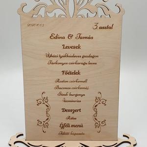 Motívumos egyedi esküvői menükártya, Menü, Meghívó & Kártya, Esküvő, Famegmunkálás, Festett tárgyak, Gravírozott fa esküvői menükártya egyedileg tervezve és elkészítve mínőségi nyír rétegelt lemezből.\n..., Meska