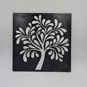 Életfa lézervágott festett fali kép, Kép & Falikép, Dekoráció, Otthon & Lakás, Famegmunkálás, Mínőségi nyír rétegelt lemezből kivágott életfa motívum metál színre festve, a feketére festett alap..., Meska