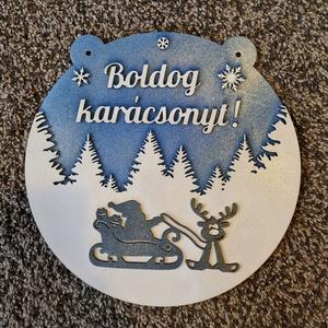 Mikulás és szarvasa karácsonyi dísz, Otthon & Lakás, Karácsony & Mikulás, Karácsonyi dekoráció, Famegmunkálás, Festett tárgyak, Mínőségi nyír falemezből kivágott egyedi tervezés alapján készített kézzel festett karácsonyi ajtó,l..., Meska