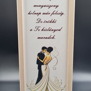 Egyedi esküvői szülőköszöntő bortartó esküvőre, Esküvő, Emlék & Ajándék, Köszönőajándék, Gravírozás, pirográfia, Famegmunkálás, Meska