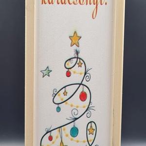 Egyedi uv nyomtatott bortartó karácsonyra, Karácsony, Karácsonyi ajándékozás, Gravírozás, pirográfia, Famegmunkálás, Meska