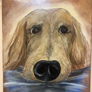 Golden retriever festmény, Művészet, Festmény, Akril, Festészet, 18*24 cm-és feszített vászonra készítettem a festményt egy elképzelt kutyusról. Az inspirációt a gye..., Meska
