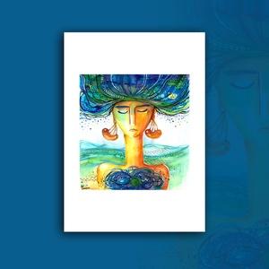 """""""Kavargó gondolatok"""" - akvarell festmény nyomat, Művészet, Művészi nyomat, Nyomdai nyomat a """"Kavargó gondolatok"""" c. kézzel, vegyes technikával (akvarell, tűfilc, színesceruza)..., Meska"""