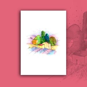 """""""Varázsos táj"""" - akvarell festmény nyomat, Művészet, Művészi nyomat, Nyomdai nyomat a """"Varázsos táj"""" c. kézzel, vegyes technikával (akvarell, tűfilc, színesceruza) készí..., Meska"""
