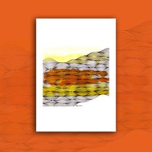 """""""Hullámok"""" - tűfilc grafika nyomat, Művészet, Művészi nyomat, Nyomdai nyomat a """"Hullámok"""" c. kézzel, vegyes technikával (akvarell, tűfilc) készített grafikámról. ..., Meska"""