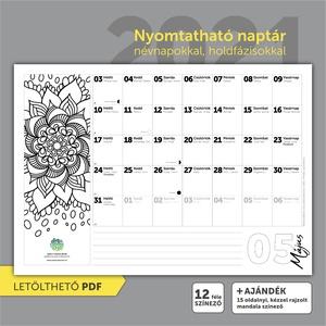 Nyomtatható 2021 naptár, névnapokkal, holdfázisokkal, Otthon & Lakás, Dekoráció, Falinaptár & Öröknaptár, Fotó, grafika, rajz, illusztráció, Válaszd 2021-re ezt a kreatívan színezhető, dekorálható, nyomtatható naptárat, névnapokkal, holdfázi..., Meska