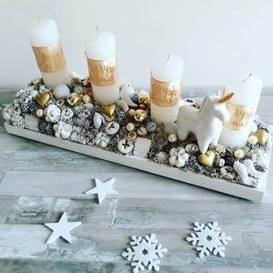 karácsonyi asztaldísz, Otthon & lakás, Lakberendezés, Asztaldísz, Dekoráció, Ünnepi dekoráció, Karácsonyi, adventi apróságok, Karácsonyi dekoráció, Virágkötés, Figurás asztaldekor 40cm hosszú , Meska