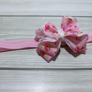 Rózsaszín virág mintás masni csipkés hajpánt, fejpánt (Szalagcsokor) - Meska.hu
