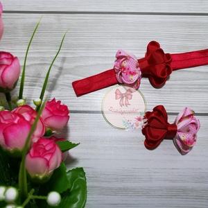 Piros és rózsaszín pöttyös-virágos fejpánt, hajcsat, hajgumi, Táska, Divat & Szépség, Ruha, divat, Hajbavaló, Varrás, Ünnepi alkalmakra, de akár a hétköznapokra is tökéletes választás. \n\nPiros egyszínű és rózsaszín ala..., Meska